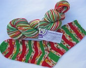 RESERVED ORDER for: Carol Timmers -  3 hanks Christmas Confetti self striping sock yarn