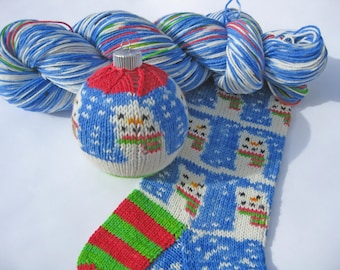 RESERVED ORDER for: jenmikesmith68 -  1 snowman sock kit, 1 hank stars and stripes sock yarn