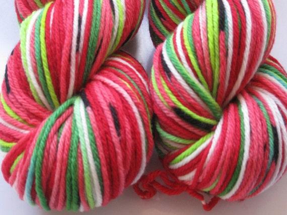 Bulky Weight self striping Watermelon yarn - in stock ready to ship