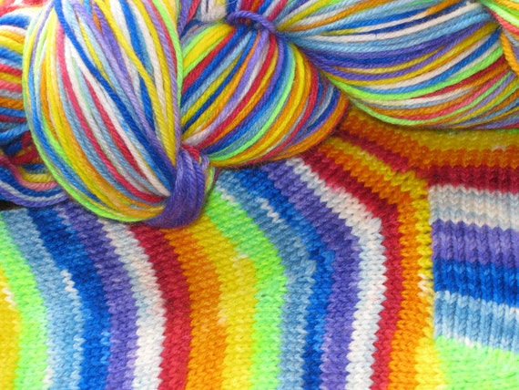 RESERVED ORDER  for knittinprincess  - 1 skein rainbow and clouds sock yarn