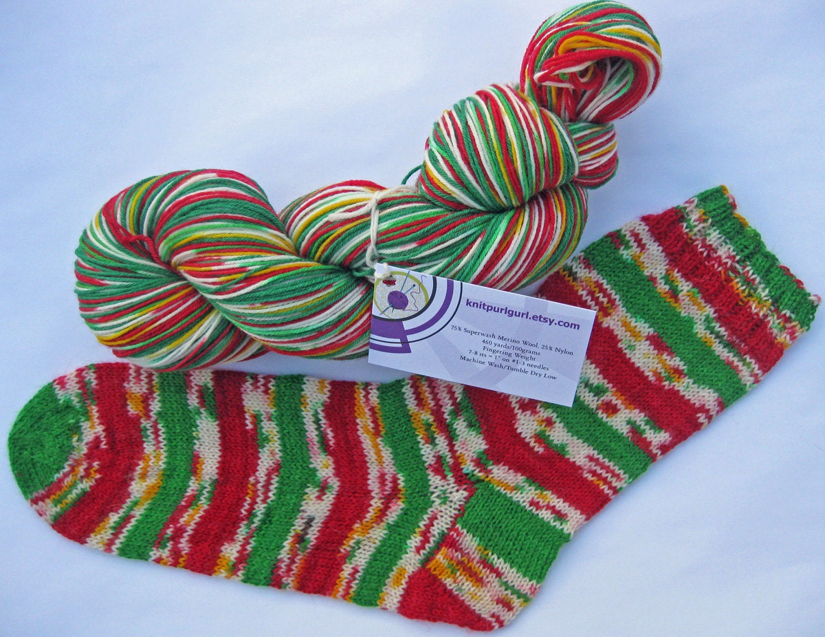 Sock Yarn : Christmas Confetti self striping sock yarn in by ArtisticYarnbyAbi