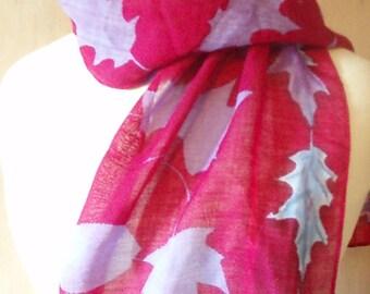 Vintage Handpainted Fall Leaf Print Scarf, Autumn Fashion / Raspberry / Purple