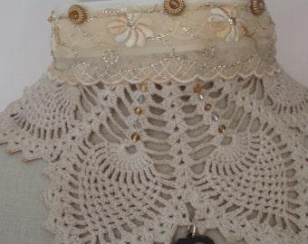 Victorian Tea Dyed Steampunk Statement Choker Crochet  Bib NEcklace Black Hills Gold Heart