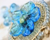 oOo SALE oOo - 50% off - Glass Lampwork Flower Blue Topaz Aquamarine 14k Gold Filled Wire Wrapped Necklace - The Redolent