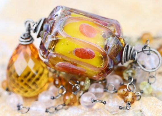 oOo SALE oOo - 60% off - Glass Lampwork Citrine Quartz Lemon Quartz Oxidized Sterling Silver Wire Wrapped Beadwork Necklace - The SunBlast