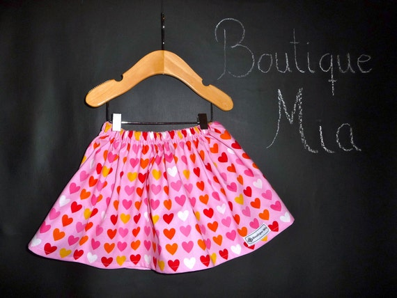 SAMPLE - Hearts Children Skirt - Will fit Size 12-24 month and 2T / 3T - by Boutique Mia and More - Ready To Ship
