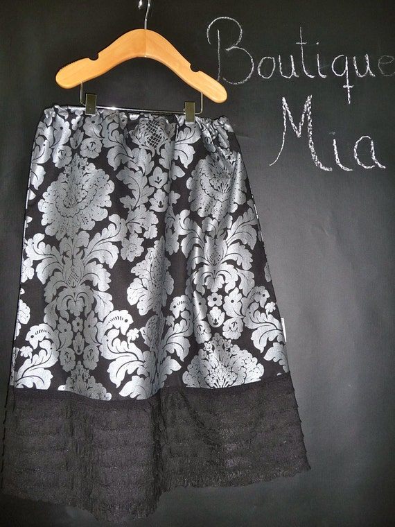 SAMPLE - Ladies Aline Skirt with Ruffle hem - Damask - Will fit size XXS / XS - by Boutique Mia and More - Ready To Ship
