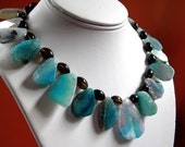 CUSTOM RESERVED item for RENEE, Crackle Agate Chunky Beaded Necklace