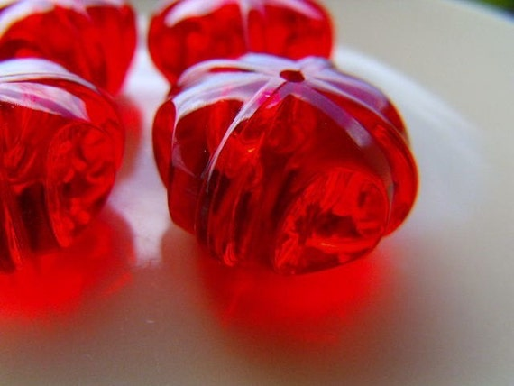 4 Giant Vintage Ruby Donut Beads 24mm Acrylic Plastic