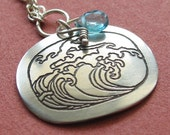 Etched Sterling Silver Wave necklace with apatite