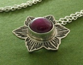 RESERVED - Etched starflower pendant with pink ruby - RESERVED for Xiriah