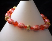 Orange Pearl and Crystal Bracelet (398)