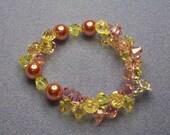 Pink and Yellow Swarovski Crystal Bracelet (496)