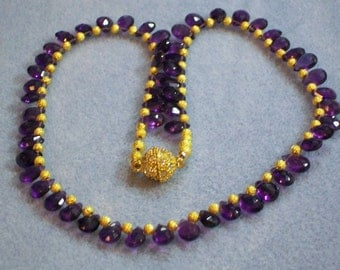Amethyst and Gold Necklace (768)