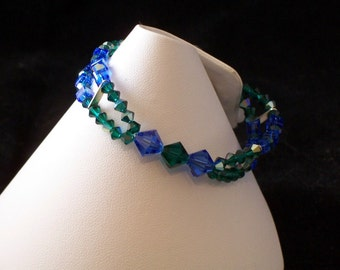 Blue and Green Crystal Bracelet (167)