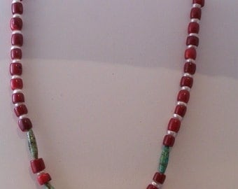 Coral, Turquoise and Pearl Necklace (369)