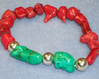 Turquoise, Coral and Silver Bracelet (612)