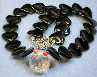 Black Onyx and Crystal Necklace (659)