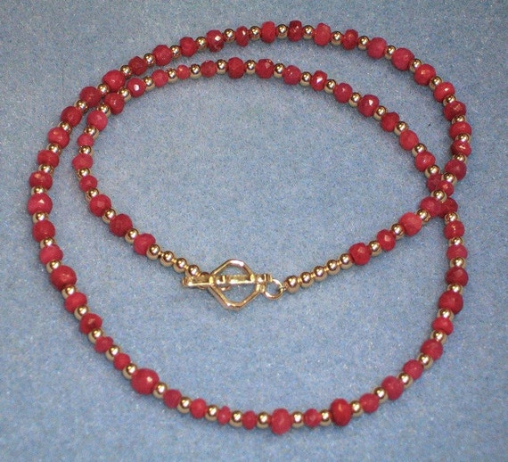Ruby and 14kt Goldfill Necklace (593)