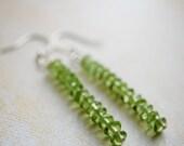 Peridot stick earrings. Pale green semiprecious earrings.