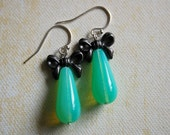 Mint Green Bow Earrings.