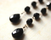 Little Black Dress. Jet Black Dangle Earrings.