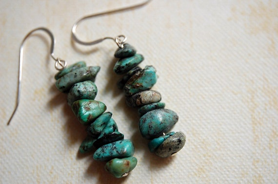 African Turquoise Stacked Earrings