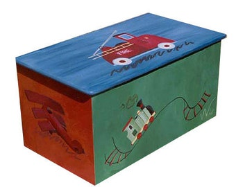 Childrens wooden toy box - Trains trucks and planes - little boy favorites
