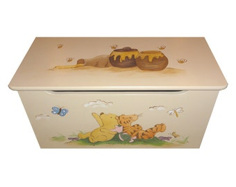 Childrens wooden toy box - Honey, Pooh Bear and Tigger - That's classic
