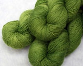 Hand Dyed Wool Silk Laceweight Yarn - Lichen