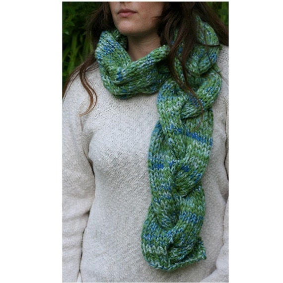 Cable Scarf Knitting Pattern : Gigantic Cable Scarf PDF knitting pattern by jilldrapermakesstuff