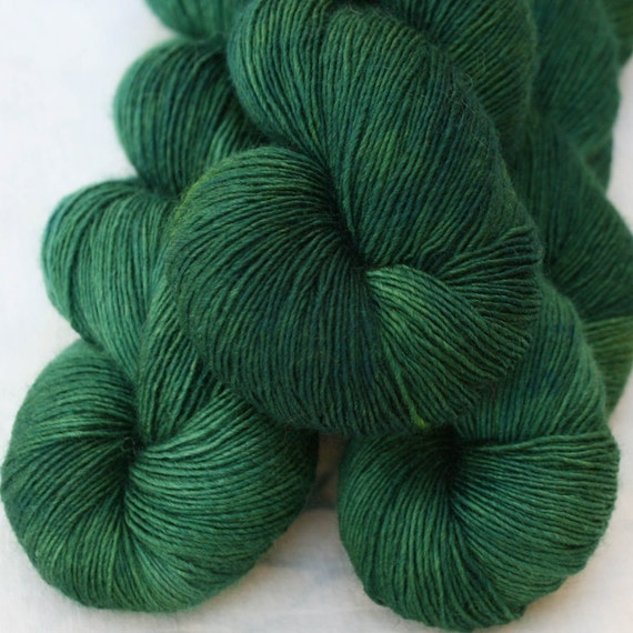 Hand Dyed Wool Silk Laceweight Yarn - Malachite