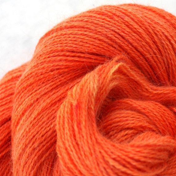 Hand Dyed Angora Silk Laceweight Yarn - Orange Crush