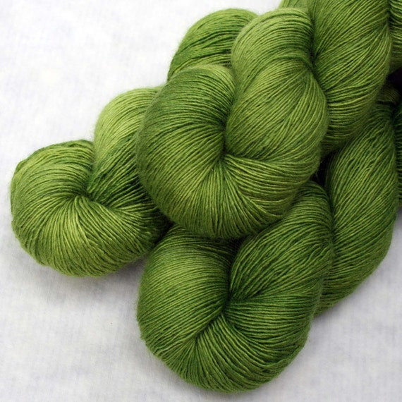 Hand Dyed Wool Silk Laceweight Yarn - Lichen