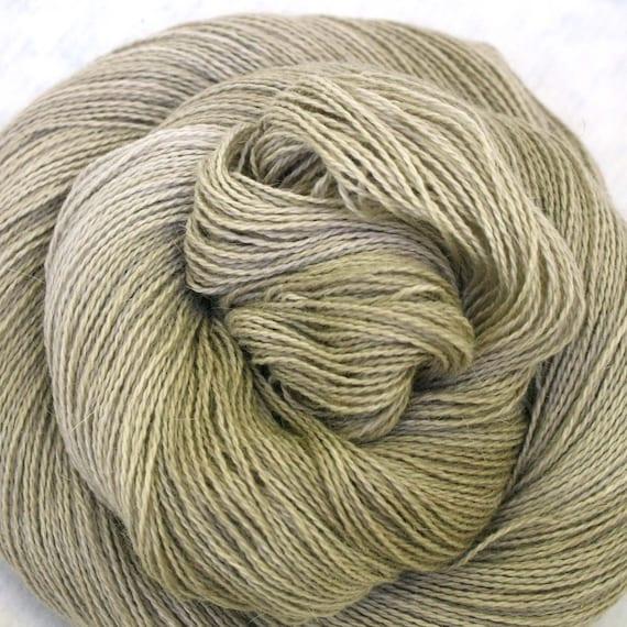 Hand Dyed Angora Silk Laceweight Yarn 435yds 50g Sand