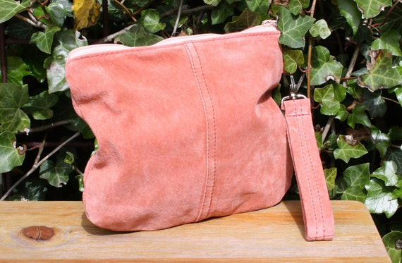Wristlet, recycled suede in a lovely soft pink color