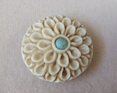 Carved Bone Flower with Chinese Turquoise Center