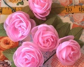 Vintage Millinery / Girly Romantic Pink Roses / Five Single Roses