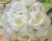 Vintage / Miniature Organza Roses / One Bouquet of Twelve Stems / White
