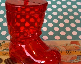 Merry Kitschmas / Santa Claus Boot / Container Ornament / Two Items / Transparent Red