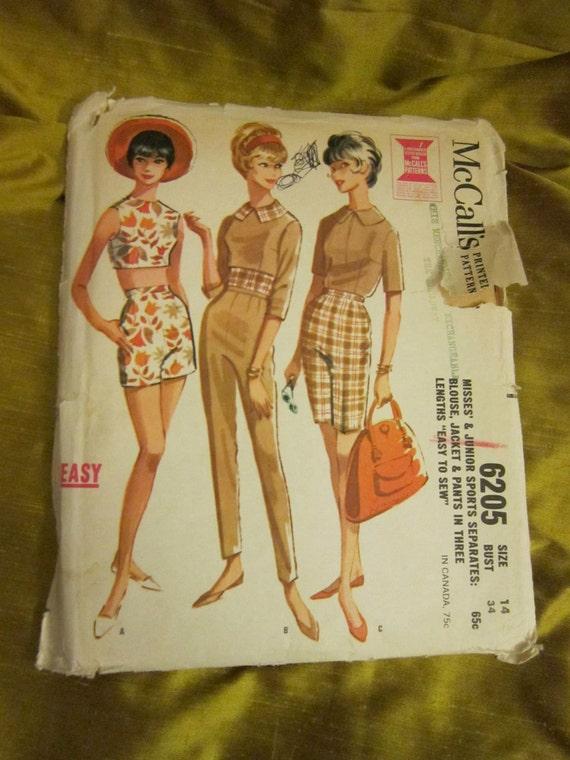 Vintage McCalls 1961 Misses' & Juniors Sports Separates Pattern 6205