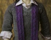 Purple micro-knit cable scarf for MSD - SD dolls
