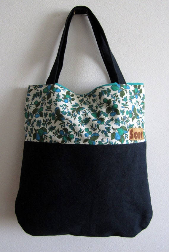 ON SALE  Eventide Denim & Fruit Tote Bag (Reserved for Emily S.B)