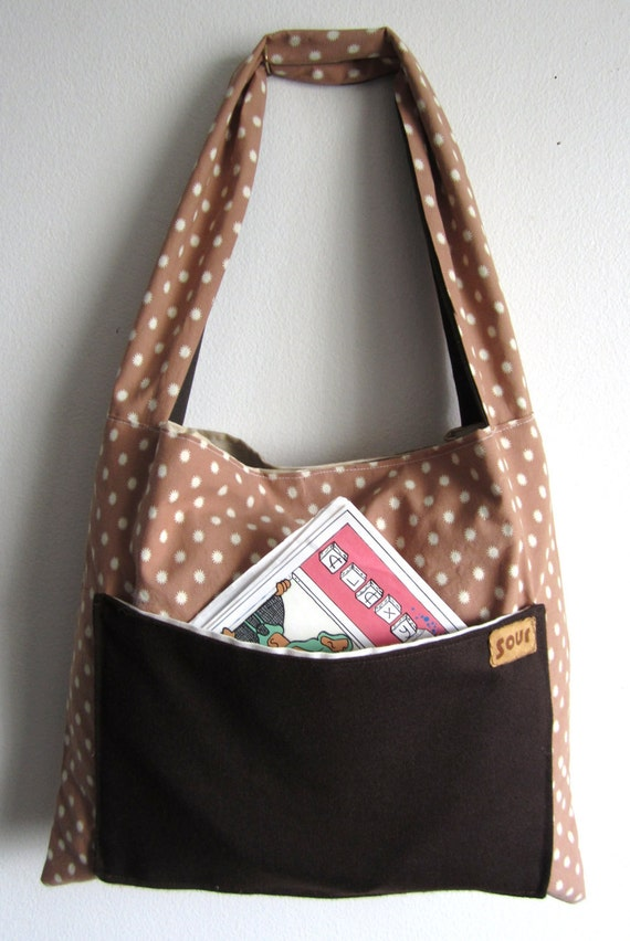 ON SALE Grassroots Taupe One Strap Small Carry-All Tote Bag