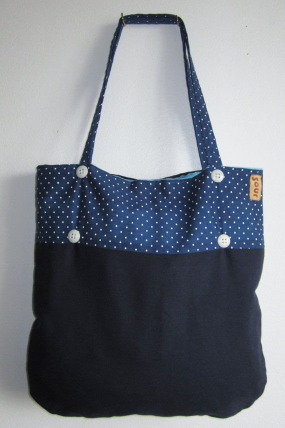 ON SALE Grassroots Dark Blue Polka Dot Tote Bag