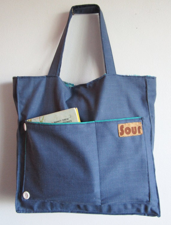 ON SALE Grassroots Blue and  Retro Floral Giant Tote Bag