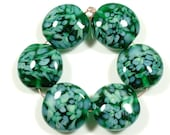 SCOTTYBEADS LAMPWORK  BEADS - Dark Teal Lillypond Lentil Beads (6) - FREE US SHIPPING