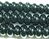 24 Charcoal Spacer Beads - ScottyBeads Lampwork - FREE US SHIPPING