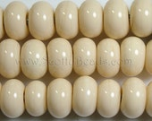 24 Ivory Spacer Beads - ScottyBeads Lampwork - FREE US SHIPPING