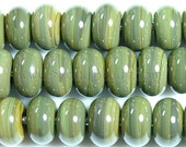 24 Olive Green Spacer Beads - ScottyBeads Lampwork - FREE US SHIPPING